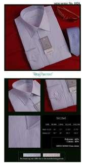 MENS WHITE BUSINESS DRESS SHIRTS BLUE STRIPE 17 L