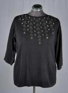 BOB MACKIE Wearable Art Black Knit 3/4 Sleeve Sweater w/ Sequin