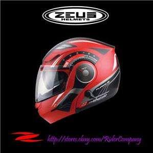 ZEUS ZS 3000A Matte GG1 Red/Black Red Modular Flip Up Helmet QRB size