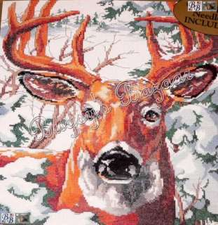 Point Buck Deer Counted Cross Stitch Picture Kit   L. Gillum