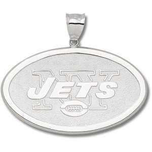 New York Jets NFL Oval Logo Giant Pendant (Silver) Sports