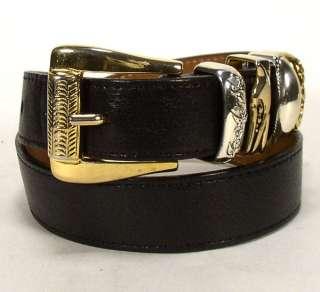 Streets Ahead Black Leather Belt w/ Gold & Silver Buckle Sz. S