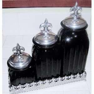 Black bear kitchen canisters on popscreen - Fleur de lis canisters ...