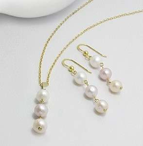 WHITE PEARL NECKLACE EARRING SET PENDANT 14K GOLD GP