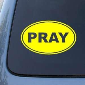 PRAY EURO OVAL   God Jesus Christian Mormon   Vinyl Car Decal Sticker