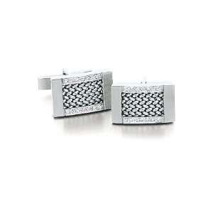 14k White Gold and Diamond Mesh Cufflinks Solid 14k Gold Jewelry