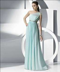 New Elegant Green One shoulder Wedding Bridal Bridesmaid Gown/Prom