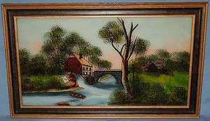 FRAMED ANTIQUE REVERSE PAINTING ON GLASS GRIST MILL CA LATE1800s