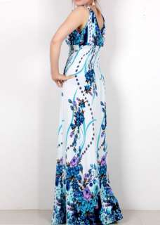 deep V boho summer evening party long maxi dress US4 12 N53