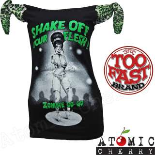 Too Fast Zombie Go Go Top T Shirt Rockabilly Pin Up Punk Horror