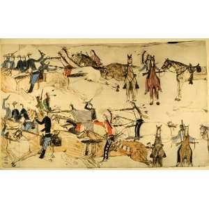 1938 Hand Painted Lithograph Native American Reno Troops