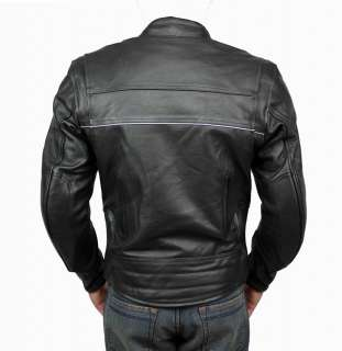 Mens Superior Black Leather Motorcycle Biker Jacket