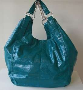 MON AMI Extra Large Blue Faux Leather Shoulthe Handbag