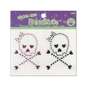 Dritz Iron On RhineStuds Pink & Black Skulls Crossbones Hearts