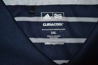 CLIMACOOL SHORT SLEEVE NAVY BLUE WHITE GOLF POLO STRIPE SHIRT MENS 2XL