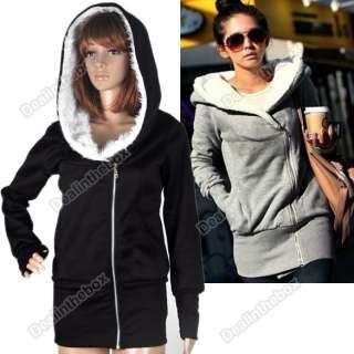 Fashion Korea Women Hoodie Jacket Coat Warm Outerwear hooded Zip Up