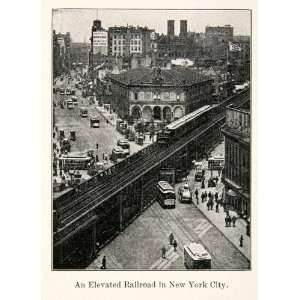 Print Cityscape Elevated Railroad Train New York Street Scene Historic