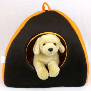 Pet Dog Puppy Cat Soft and Warm House Bed Brown/Orange