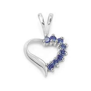 Sapphire CZ Open Heart Pendant in Sterling Silver for Teens Jewelry