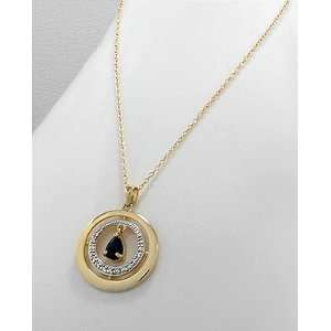 14k Yellow Gold/ 1pc Diamond Necklace with Sapphire
