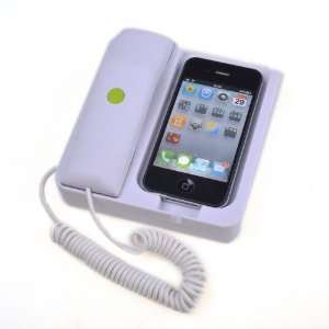 White Telephone Stand Handset Noise Reduction Feature For