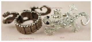 NW Fashion Faux Diamond Crystal Rhinestone Lizard Rings