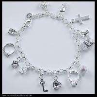 HTB80 silver Mixed pattern 13 charm bracelet