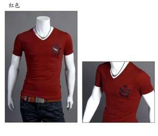 Fashion Mens Slim V NECK Tee Shirts Fit Casual Short Sleeve T shirts