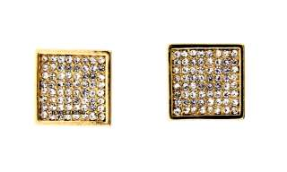 ICED OUT GOLD HIP HOP BLING CZ PAVE SQUARE STUD EARRING