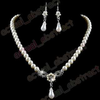 Czech rhinestone&IMITATE PEARL necklace earring 6sets