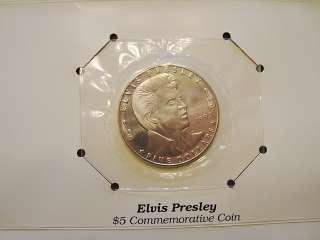 1993 ELVIS PRESLEY MARSHALL ISLANDS 5 DOLLAR COMMEMORATIVE COIN. SIZE