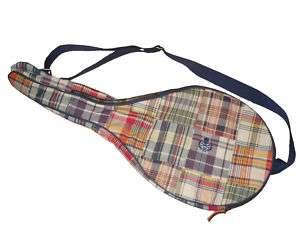 Ralph Lauren Polo Madras Rugby Skull Tennis Racquet Bag