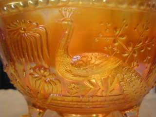 Vtg RARE NORTHWOOD PEACOCK AT THE FOUNTAIN Footed Big Fruit Bowl