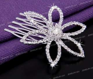 Flower Rhinestone Crystal Jewelry Bridal Hair Comb Pin 2.3