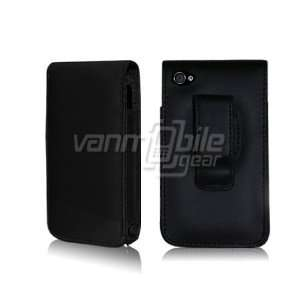 iPhone 4 4S Black Leather Holster Case Cover   Black Premium Leather