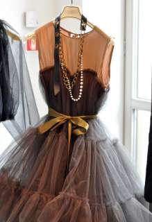 Runway Tulle Tutu Gown Prom Dress Wedding Grey/Red