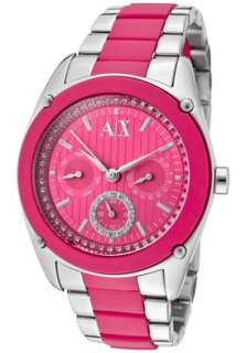 Armani Exchange Watch AX5043 Womens White Rhinestone Pink Dial