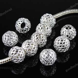 100X WHOLESALE SILVER NET BALL SPACER CHARM BEADS