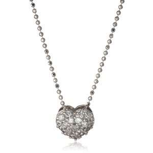 KC Designs Peace and Love 14k White Gold and Diamond Heart Pendant