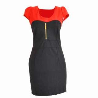 Versatile Cap Sleeve One Piece Zipper Designer Womens Mini Dress E16Z