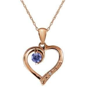 Blue Tanzanite and White Diamond 18k Rose Gold Heart Shape