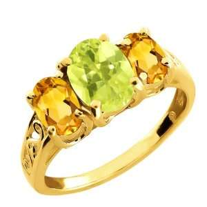 2.15 Ct Oval Lemon Quartz and Citrine Gold Plated Silver