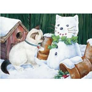 Snowcat Surprise Christmas Card   Kitten And Cats Holiday