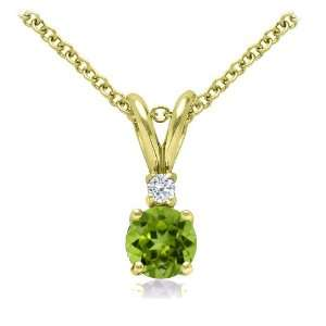 Peridot and Diamond Solitaire Pendant in 14k Yellow Gold