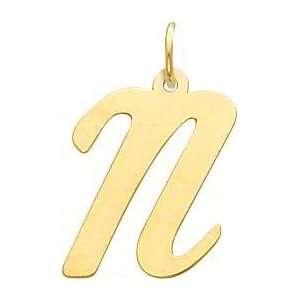 Cursive Letter N Charm 14k Gold: Jewelry