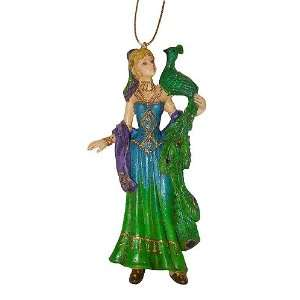Lady With Peacock On Shoulder Christmas Ornament