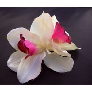 White Cybiduim Orchid Flower Pony Tail Holder Everything