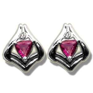 .02 ct 4mm Trillion Mystic Pink Topaz White Gold Earring