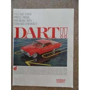 1961 Dodge Dart car, Vintage 60s full page print ad. (red car