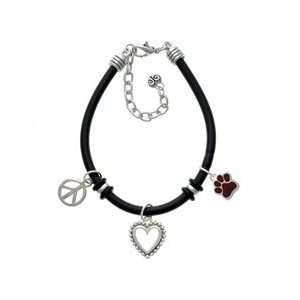 Small Maroon Paw Black Peace Love Charm Bracelet [Jewelry